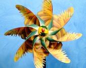 Yellow Parrot Pinwheel Spinner Whirligig Windmill