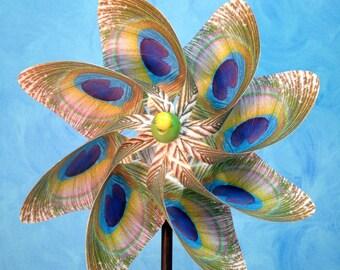 Peacock - White Pinwheel Spinner Whirligig Windmill
