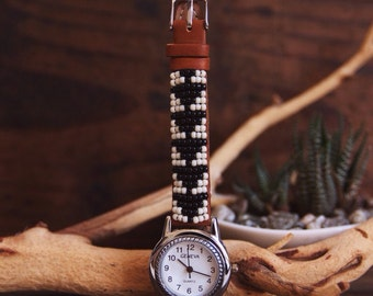 BLW-09,Native American inspired hand-beaded genuine leather watch