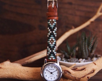 BLW-03, Native American inspired hand-beaded genuine leather watch