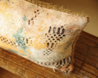 "Boho Linen & recycled burlap ooak accent throw pillow case.. Long mini.  8"" x 16"" .. / ETHNICS MOMENTS  Bohemian rustic interior"