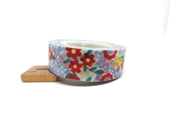 Red and Orange Flowers with Teal Leaves, Polka Dots on Lilac Washi Tape 15mm x 15m