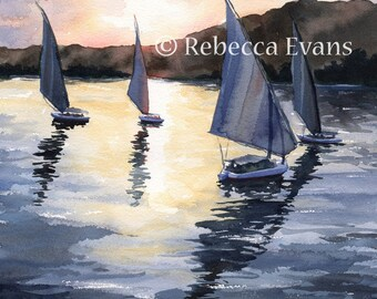 Illustration Art Print of Boats on River at sunset 8.5x11