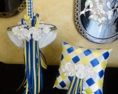 Flower Girl Basket & Ring Bearer Pillow Set, Custom Order in your colors with Swarovski Crystals and Pearls
