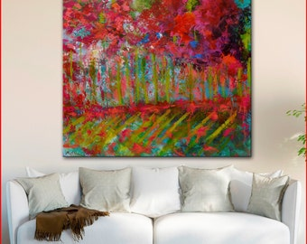 """Original OIL  Painting Large  Abstract Landscape Painting 36"""" x 36""""  Canvas by Claire McElveen"""