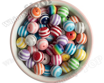 16mm - MIXED Color Striped Gumball Beads, Striped Round Beads, Striped Bubblegum Beads, 16mm Striped Beads, Chunky Bubble Gum Bead, 2mm Hle