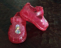 Vintage Pair Of Infant Baby Girls Precious Moments  Pink Glitter Jelly Shoes In Immaculate Condition