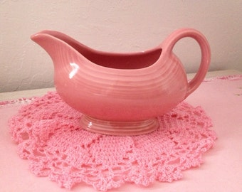 Pink Vintage Fiesta Gravy Boat / Server In Retired Rose Color ~ Pink FiestaWare ~ Retro And Retired FiestaWare ~ Homer Laughlin