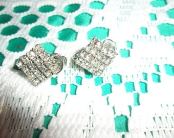 Authentic Vintage Diamond Shape Rhinestone Silver Clip On Earrings, FREE POSTAGE