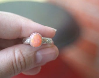 Peach Orange Mexican Fire Opal Sterling Silver Bezel Setting Leaf Band Ring SIZE 6