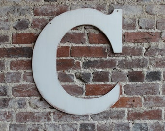24 wooden letter c classic font in distressed white all letters available in many colors