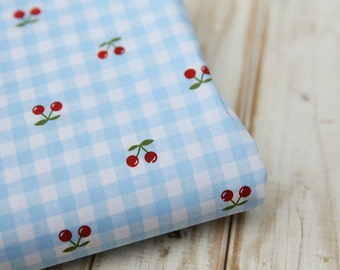 Red Cherry with Sky Blue Gingham - Cotton Fabric  - 1 yard