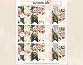 21 Floral Watercolor Pennant Page Flag Planner Stickers, Calendar Sticker, Planner Accessories, Erin Condren, Filofax, Project Life