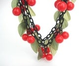 Bib Necklace. Bakelite Style Cherries. Double Strand Fringe. Fruit & Leaf Charms. Vintage Statement Jewelry. Modern Reproduction.