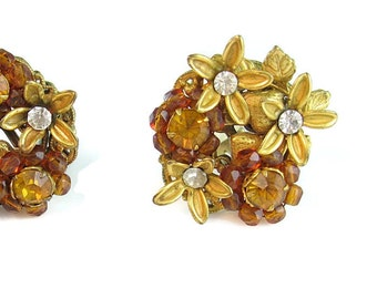 Topaz Earrings. Amber Bead & Rhinestone Flowers, Strawberry Filigree. Designer Signed Robért. Vintage 1960s Hand Wired Jewelry.