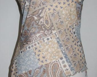 Sleeveless Cream, Beige, Blue Paisley Print Blouse
