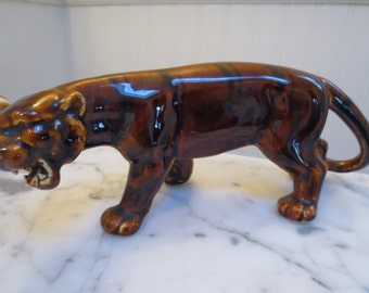 Vintage Chinese Tiger Brown Pottery Figurine