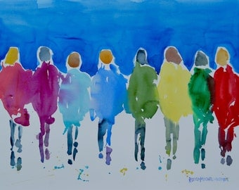 """Passion People (6202015.1), Original Watercolor Painting, Landscape and Figures, Large 22"""" x 30"""", Free Shipping within USA"""