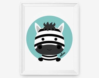Zebra Print, Nursery Art, Baby Cute Animal Wall Art, Children Animal Art, Kids Room Decor