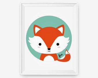 Wolf for Nursery, Woodland Animal nursery wall art, Children decor animal for kids rooms