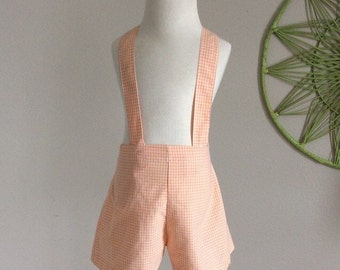 1990's Girls Orange Gingham shortalls size 4