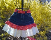 Red White and Blue Patriotic Denim Repurposed Recycled Upcycled Jeans