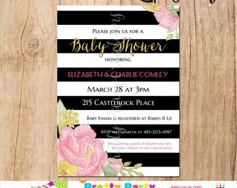 Black and White Stripe PEONY invitation - baby or bridal shower - YOU PRINT