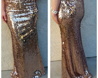 L or XL only left - Oval Rose Gold Maxi - Gorgeous high quality sequins - Long sequined skirt