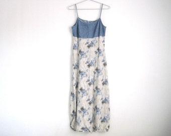 90s Grunge Dress. Floral Print Dress. Spaghetti Strap Sleeveless Dress. Denim Dress. Empire Waist Maxi Dress. Summer Sun Dress. 90s Style.