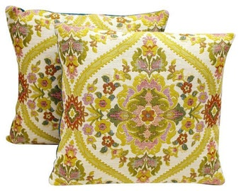 Vintage Jacquard fabric pillow covers a pair. 16x16