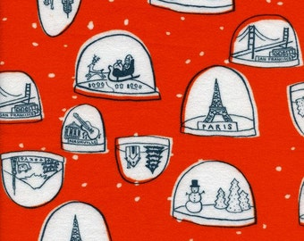 Tinsel FLANNEL Snowglobes in Red, Alexia Abegg, Cotton+Steel, RJR Fabrics, 100% Cotton Fabric, 5018-34