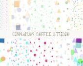 Confetti Digital Paper, Retro Geometrical Confetti Background, Geometrical Texture, Confetti, Confetti Texture