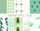 Wild Garden Digital Papers, Leaves, Insects Digital Paper, Green Floral Texture, Garden Backgrounds, Jardin, - set of 10