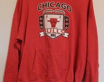 vintage Chicago Bulls hooded Sweatshirt Artex L/XL Jordan era hoodie NBA basketball pullover 80s retro