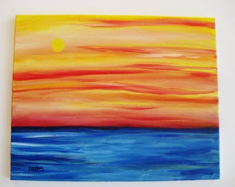 Ocean sunset painting, Original oil painting on canvas, abstract ocean sunset