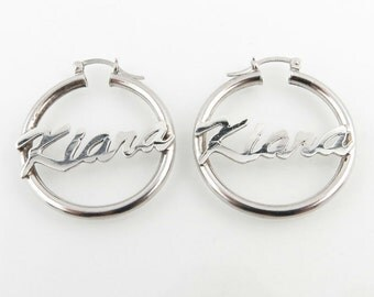 Kiara Hoop Earrings - Polished Sterling Silver Pierced Women's Name 925 31mm j8422
