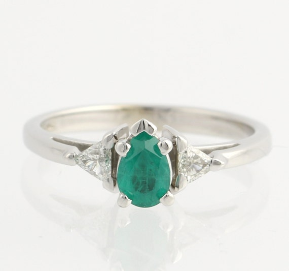 emerald ring 14k white gold pear cut by