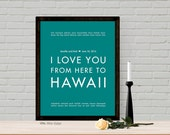 Hawaii Personalized Wedding Keepsake Home Decor - Guest Book Alternative Poster - Choose Color, Engagement gift idea