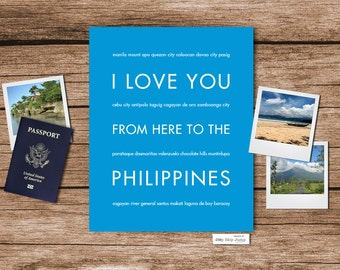 Philippines Travel Poster Art, I Love You From Here To the PHILIPPINES, Shown in Azure Blue