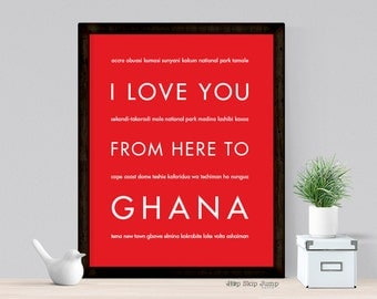 Peace Corps, Ghana Africa Art Print, Africa Decor, Safari Nursery, I Love You From Here To GHANA, Shown in Bright Red