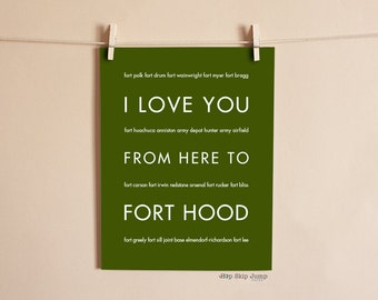 US Army Military Poster, I Love You From Here To Fort Hood Travel Military Deployment Retirement Art