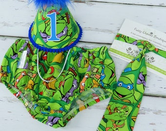 Baby Boys First Birthday Outfit Photo Cake Smash Outfit in Ninja Turtle Theme