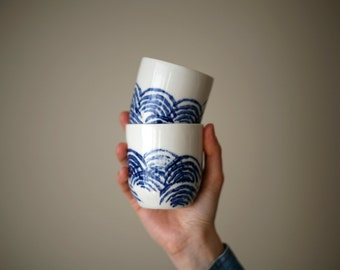Petit café / Small coffee/ blue wave set of 2 cups