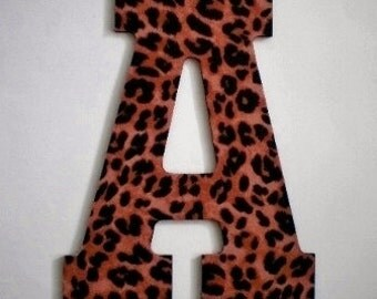 """ANIMAL PRINT LETTERS - Large Decorative Cheetah Print Wall Letters, Initials or Words - 13.5"""" in A-Z"""