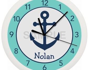 Navy Anchors Nursery Wall Clock
