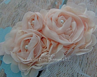 Blush Pink, Ivory or White Chiffon Flower Headband with Pearls  for Flower Girls, Wedding
