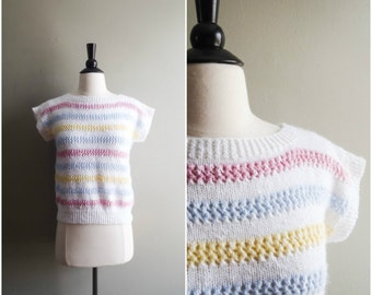 Vintage striped white sweater top / cropped short sleeve tshirt / retro colors