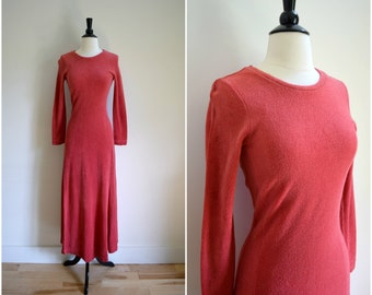 Vintage Betsey Johnson for Alley Cat coral terrycloth maxi dress / rare bohemian long sleeved designer dress with high leg slit