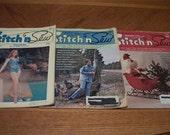 Stitch N Sew Magazine Lot (1972) Vintage Craft Crochet, Knit, Sewing Set of 3