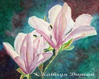 Magnolias Original Watercolor Painting | Flower painting | small floral painting | wall art | violet, teal